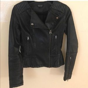 Topshop Faux Leather Motto Jacket